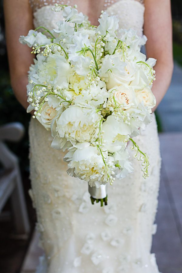 white peony, rose, lily of the valley and sweet pea bouquet by Bella Flora of Dallas