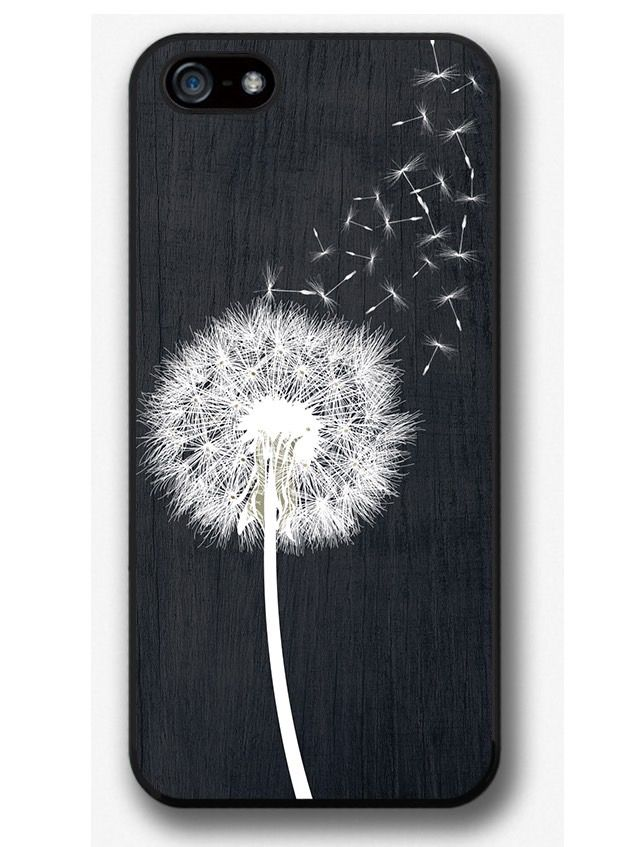 iPhone Case Dandelion on Black Wood