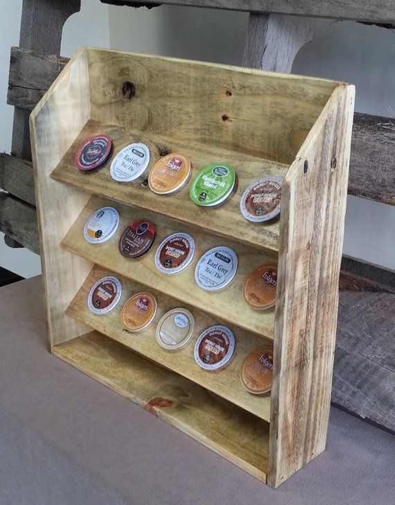 k cups coffee pod holder made from reclaimed repurposed pallet wood creative household ideas. Black Bedroom Furniture Sets. Home Design Ideas