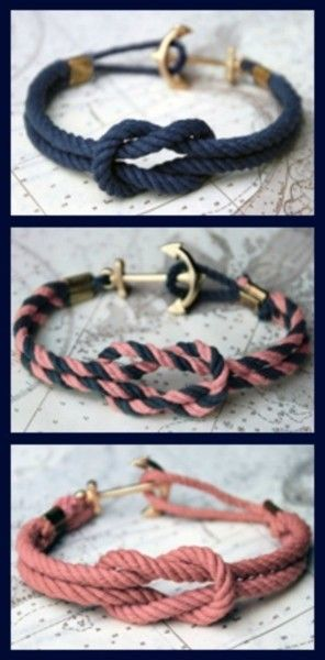 Loving this DIY project ~ a nautical knot bracelet with the cutest anchor hook.  Click here to view the full tutorial on how to make one of your own.  For easier view, here are the directions:Supplies needed:Thick rope in any color, an anchor charm, large crimping beads, and some thin rope 1. Measure the thicker rope by wrapping it once around your wrist. Add 1-2 inches to that length and cut. Repeat with a second piece of rope. 2. Take one of the pieces of rope, bending it in half to create…