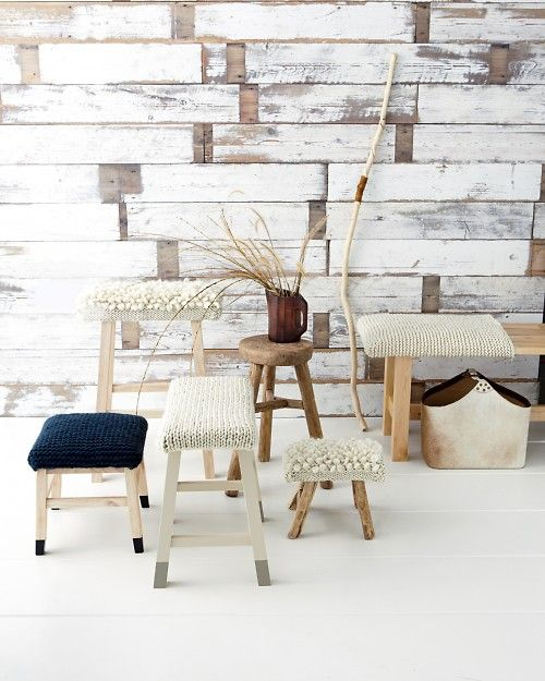 How-To Knitted Stools by marthastewart: Love these! Bet these knit up fast with super bulky yarn.  #Knitting #Knitted_Stool #Martha_Stewart: Knits Stools, Marthastewart, Idea, Diy Crafts, Covers Stools, Stools Covers, Seats Covers, Martha Stewart, Wood Wall
