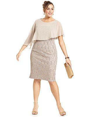 Alex Evenings Plus Size Dress, Short-Sleeve Capelet Lace Sequin - Plus Size Dresses - Plus Sizes - Macys