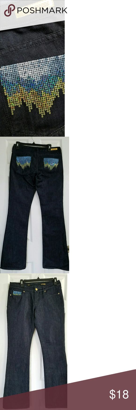 """Express Stella Bootleg jeans with sequins Express Stella Bootleg jeans with sequin pockets. Inseam 34"""" Bundle and save or make me an offer. Express  Jeans Boot Cut"""