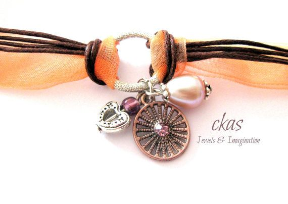 Vintage Peach and Brown Leather Bracelet Organdy by ckas