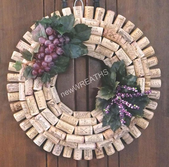 Wine Cork Wreath with Grapes, Leaves and Purple Berries-Wine Cork Wreath