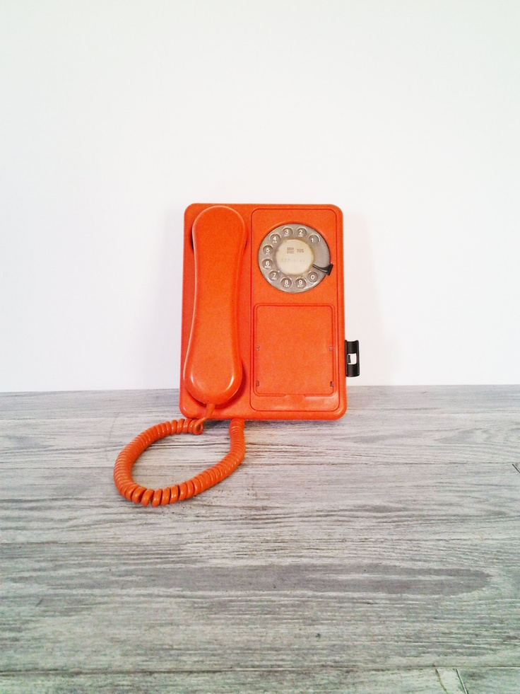 Vintage Orange Rotary Bell Canada Retro Tangerine Telephone