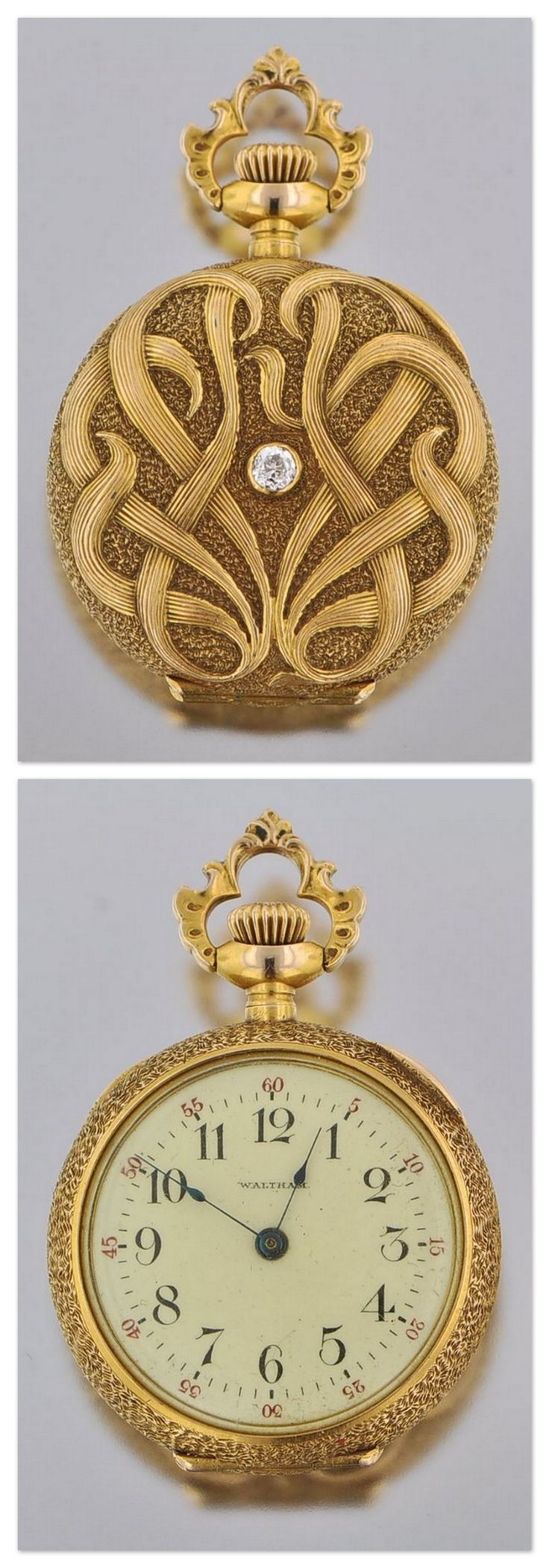 An Art Nouveau Gold and Diamond Pocket Watch by Waltham, American, ca. 1900.