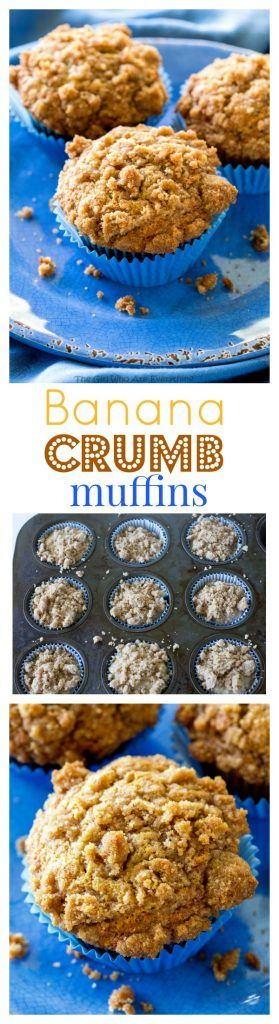 Banana Crumb Muffins - Moist banana muffins with a little cinnamon and nutmeg and topped with tons and tons of crumb topping. the-girl-who-ate-everything.com
