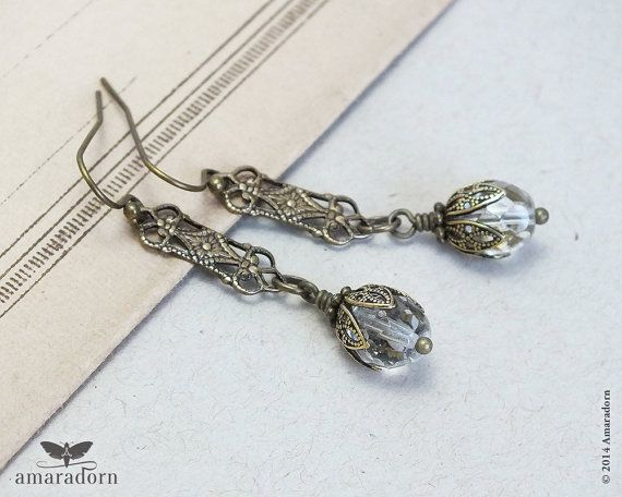 Art Deco Oorringen, messing filigraan oorringen, Edwardian Style Crystal Oorbellen, oor 1920 ringen, Art Deco sieraden, handgemaakte UK