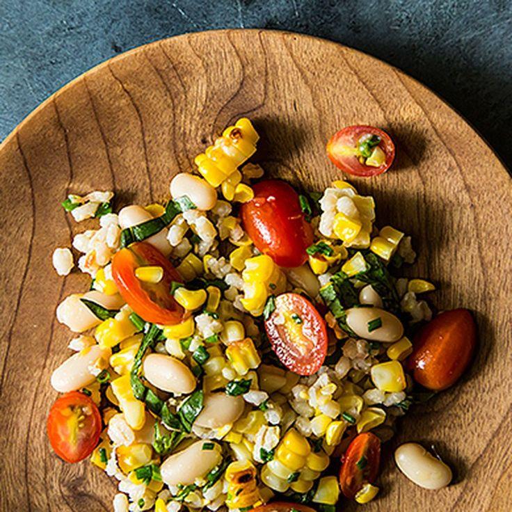 Grilled Corn & Barley Salad with Tomato Vinaigrette   recipe on Food52