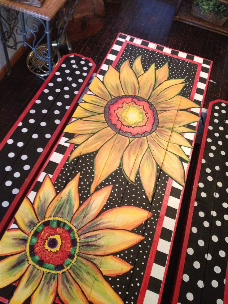 My hand-painted picnic table.