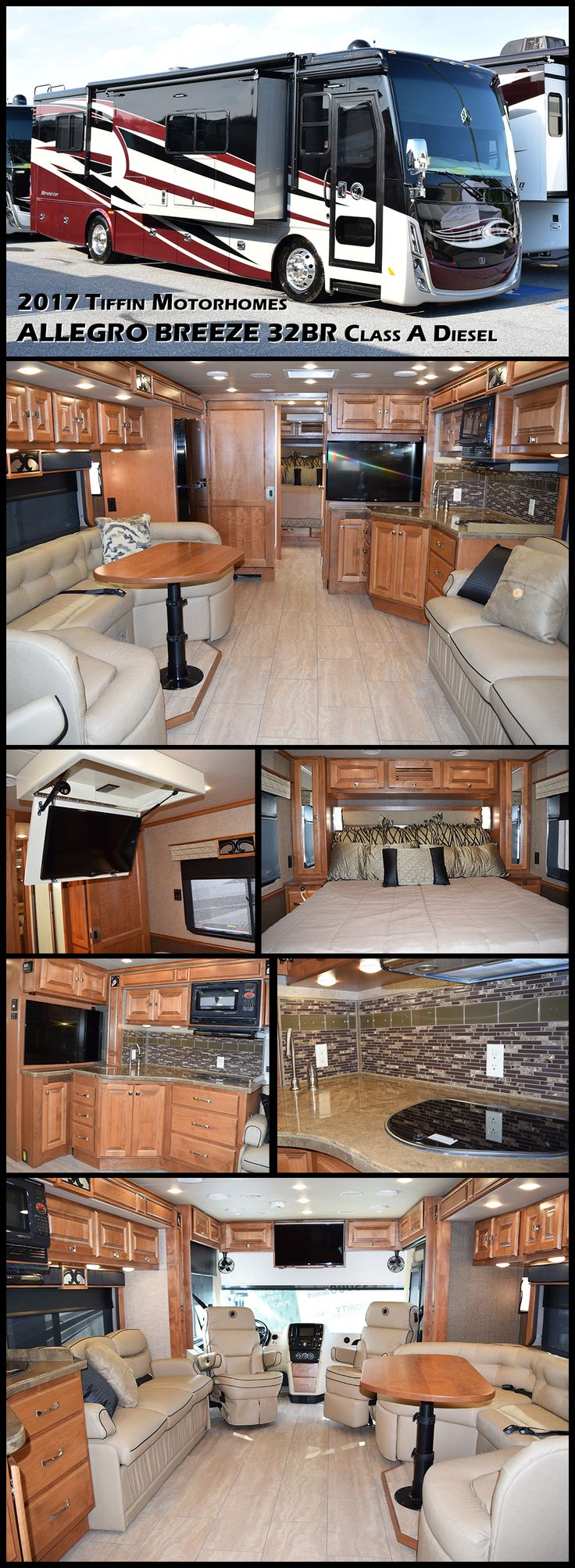 "Step inside this 2017 Tiffin Motorhomes ALLEGRO BREEZE 32BR and see why RV Magazine called it ""the sports car of Class A motorhomes."" The smallest, lightest, easiest handling, highest mileage Class A rear engine diesel coach on the road today."