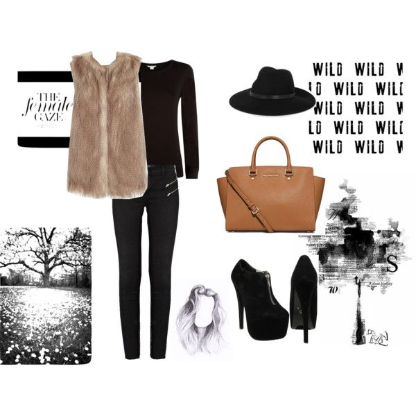 Fur Vest look... by jadeclaire19 on Polyvore featuring Monsoon, River Island, J Brand, MICHAEL Michael Kors and By Malene Birger