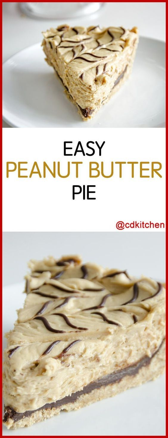 Alex's Easy Peanut Butter Pie - Recipe is made with chocolate or fudge syrup, cream cheese, powdered sugar, peanut butter, Cool Whip, graham cracker pie crust, hot fudge sundae topping | CDKitchen.com