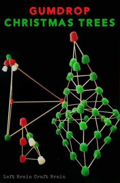 Gumdrop Christmas Trees are a yummy building activity for your little architect.  Builds STEM skills - Christmas style!