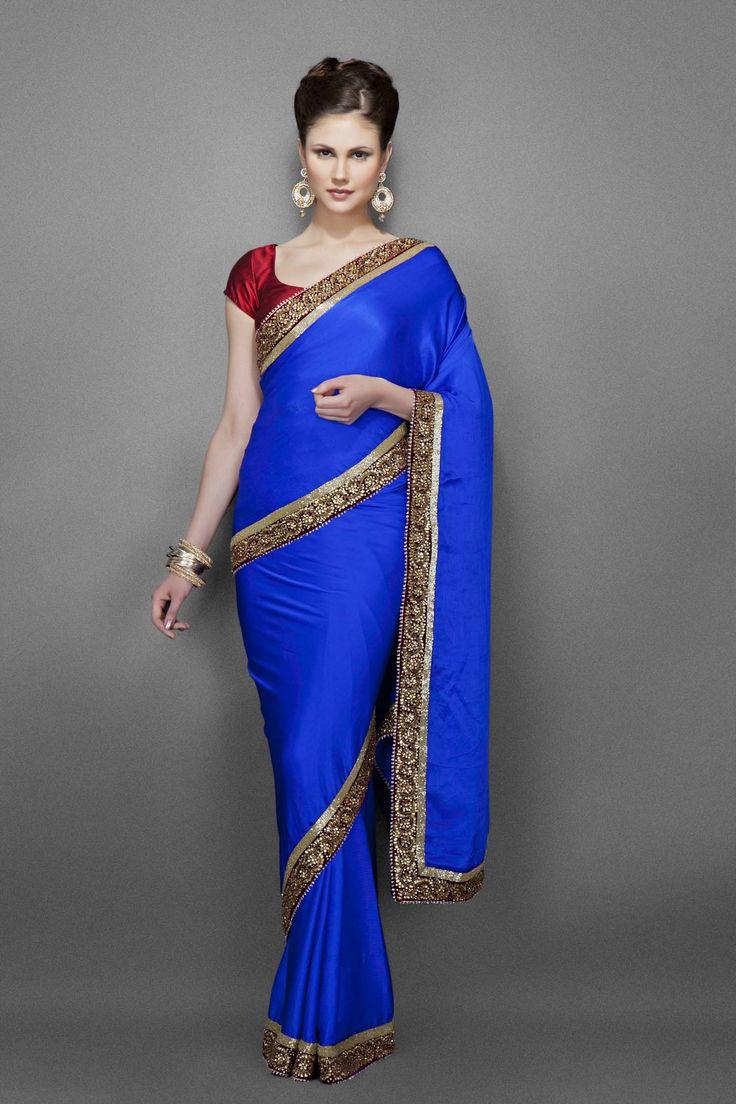 Blue sari with maroon antique gold kundan border