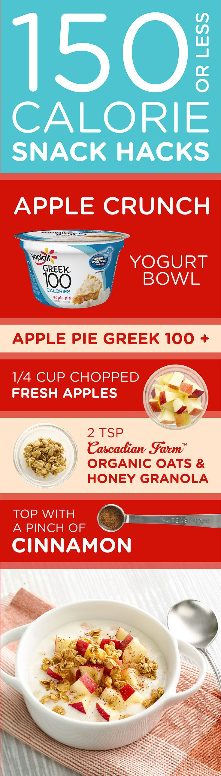 Love apples & cinnamon? Try this 150 Calorie Apple Crunch Yogurt Bowl- Add a 1/4 C chopped apples, 2 tsp Cascadian Farms Organic Oats & Honey Vanilla, and top with a pinch of cinnamon.