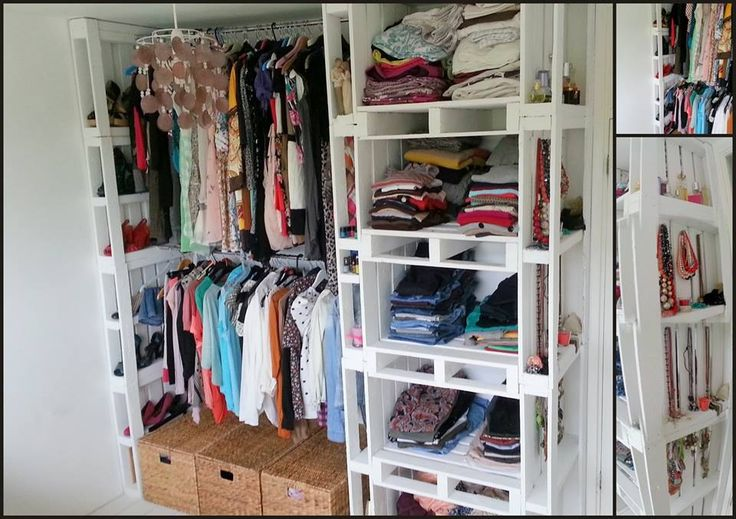 Pallet closet! Now that is some creative thinking!!