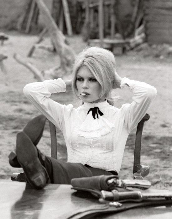 Brigitte Bardot on the set of Shalako, 1968