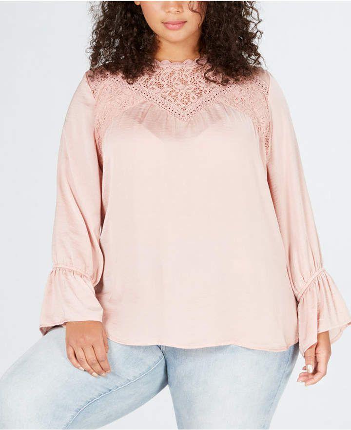 Trendy Plus Size Lace-Trim Top