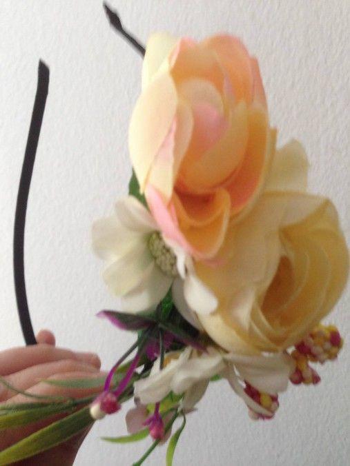 Celenka bielo- kremovo jemne oranžová a zuzova / anad333 - SAShE.sk - Handmade Ozdoby do vlasov