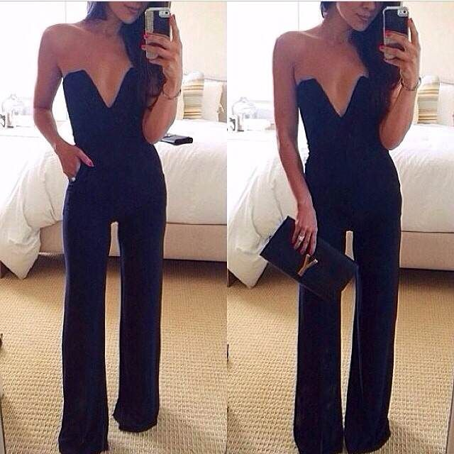 Pockets Design Backless Sleeveless V-Neck Solid Color Women's Jumpsuit