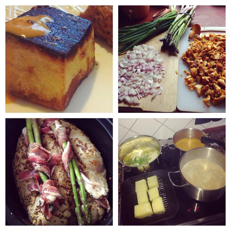 Chanterelle soup, pork tenderloins with an awesome teriyaki sauce from the crock pot and potato fondants! Awesome meal!