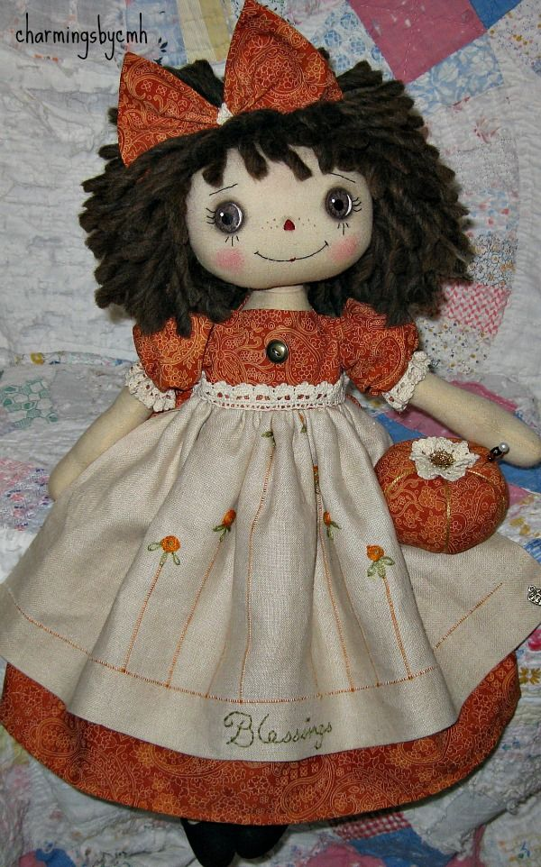 Primitive Folk Art Raggedy Ann Doll Paisley Blessings | eBay