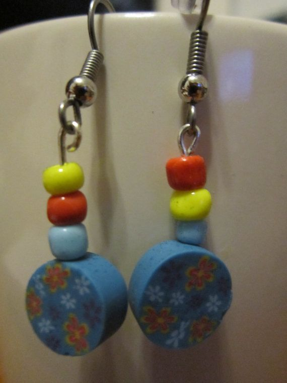 Tween Floral Polymer Clay Earrings with by BeadazzlingButterfly
