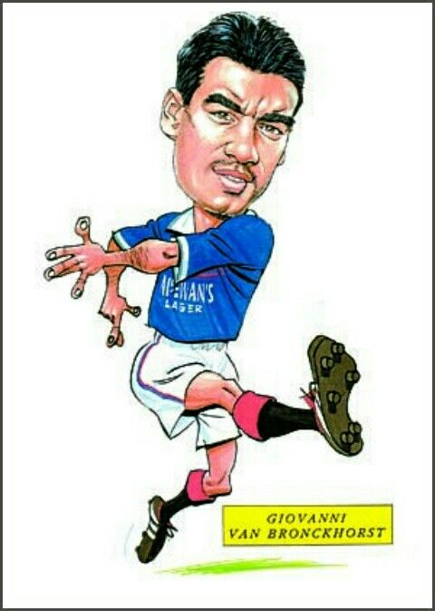 Giovanni Van Bronckhorst of Rangers in cartoon mode.