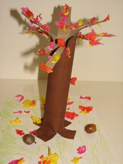 My daughter and I made this simple, but cute Fall tree .      You will need: Paper towel roll, brown paint, paint brush, glue, card stock o...