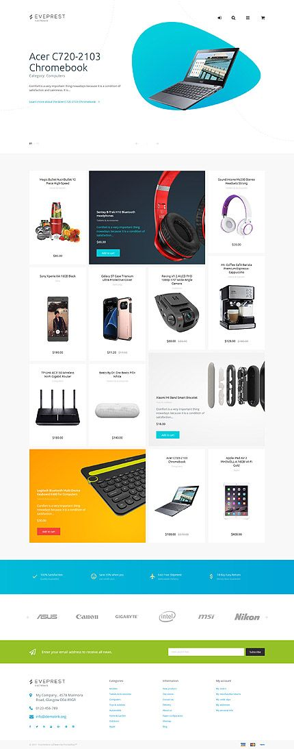 Electronics website inspirations at your coffee break! Browse for more PrestaShop #templates! // Regular price: $139 // Sources available: .PSD, .PHP, .TPL #Electronics #PrestaShop