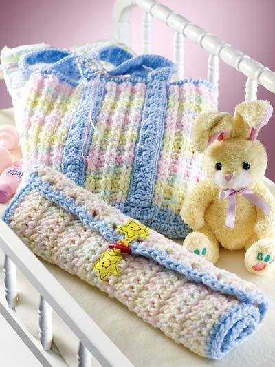 """Li'l Stripes Diaper-Changing Set - This handy diaper bag and changing pad are stitched with WW yarn and sizes G and K/10-1/2 hooks.  Sizes: Bag (12"""" x 12""""), Pad (16"""" x 20""""). Skill Level: Intermediate  Designed by Sue Childress  free pdf from freepatterns.com"""