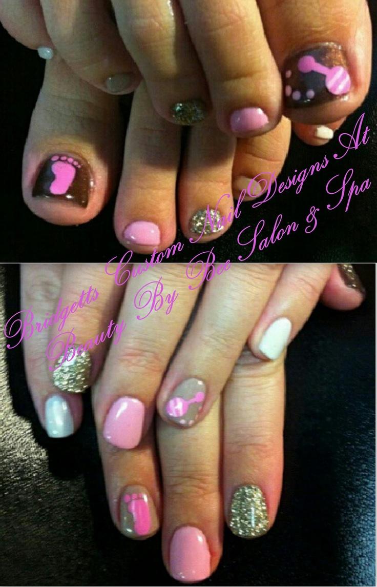 My Baby Girl Custom Gel Mani/Pedi By Bridgetts Custom Nail Designs At  Beauty By - Best 25+ Baby Girl Nails Ideas On Pinterest Baby Showers, Girl