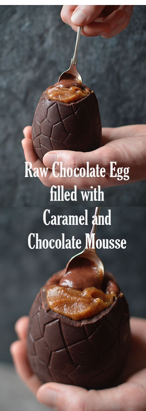 egg, filled with salted date caramel and dark chocolate mousse ...