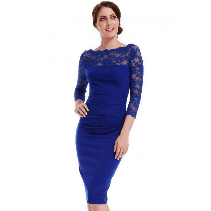 Elegancka, kobaltowa sukienka na wesele midi z koronkowym dekoltem