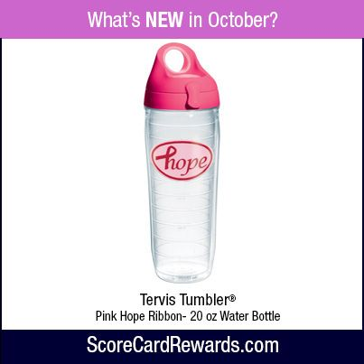 "In honor of Breast Cancer Awareness month, we're featuring an assortment of special PINK themed items to celebrate courage.  Remember to use your ScoreCard Rewards card for all your everyday purchases and this ""HOPE"" Tervis Tumbler can be yours!"