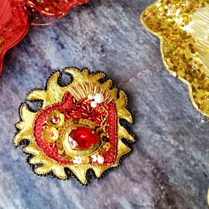 Heart Brooch - Red Heart Brooch - Red Brooch - Valentine's gifts - Gold Brooch - My Love - Crystal Heart - Gift for her - Heart - by leBARMjewel on Etsy