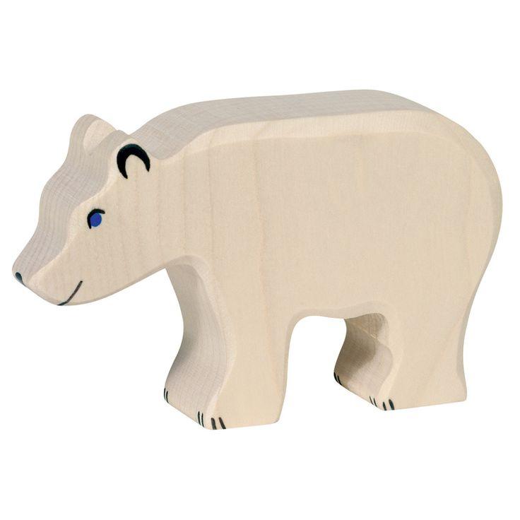 Wooden Polar Bear Holztiger Toy | Worldwide shipping www.minizoo.com.au