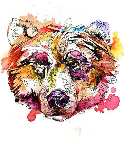 """""""Vivid Grizzly"""" Art Print by Abby Diamond on Society6."""