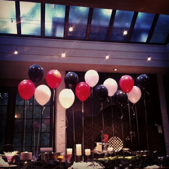 Simple Red And Black Wedding Balloon Decor Gangster