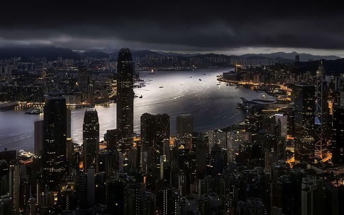 Hämta bilder Hong Kong, Natt, skyskrapor, kina, Repulse Bay, Centrala och Västra