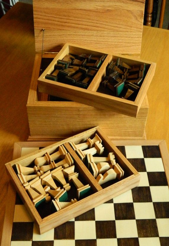 Chess Set with Board Pieces and Solid Oak Box by DJWoodandBeads, $249.00