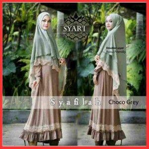 baju gamis muslim terbaru syari syafilah choco grey