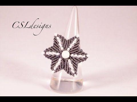 Micro macrame flower ring - YouTube