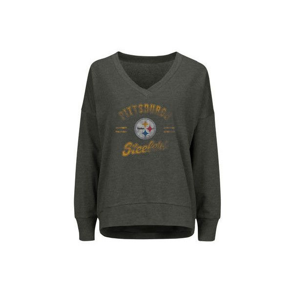 Women's Pittsburgh Steelers Majestic Charcoal Great Play V-Neck... ($45) ❤ liked on Polyvore featuring tops, hoodies, sweatshirts, v-neck tops, v neck sweatshirt, v neck tops and nfl sweatshirts