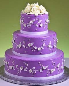purple wedding cake | Three tier dark purple wedding cake with a glossy purple icing and ...
