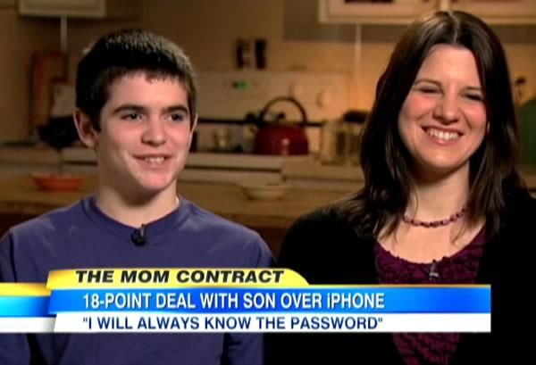 Mom Has Son Sign 18-point Agreement for iPhone. Great rules!