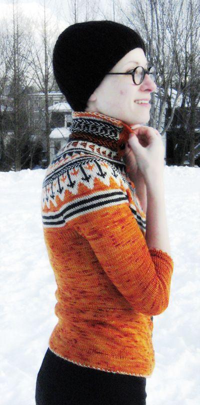 Oranje fair isle cardigan : Knitty Winter 2011