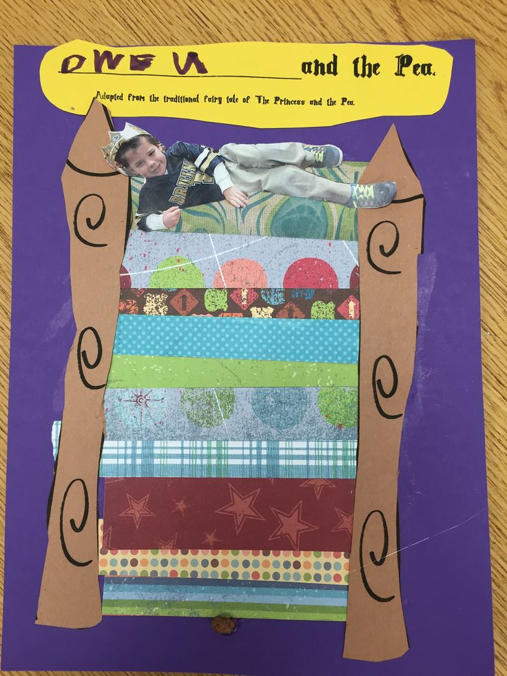 After reading the Princess and the Pea, we used scrap book paper to make this adorable craft.  I took pictures of each child wearing a crown while reclining on a table. Simple hand drawn bedposts and a header were added.  Don't forget to hot glue the pea under the mattresses! So cute!